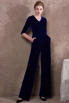 Vestido de noche Bolsillos Escote en V Formal Cremallera Hasta el Tobillo