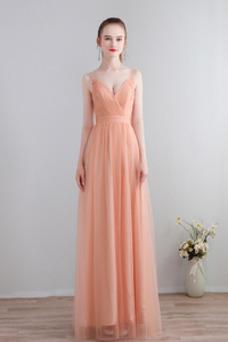 Vestido de dama de honor Verano Escote en V Falta Plisado Sin mangas Espalda Descubierta