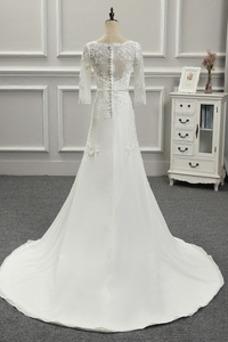 Vestido de novia Botón Playa Espalda Descubierta Corte Recto Cola Capilla