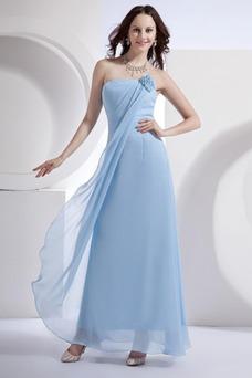 Vestido de dama de honor Rosetón Acentuado Hasta el Tobillo Sin tirantes azul de bebé