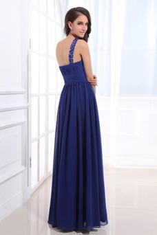 Vestido de noche Gasa Corte-A Espalda medio descubierto Con lentejuelas