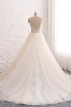 Vestido de novia Playa Natural Apliques Romántico Espalda Descubierta