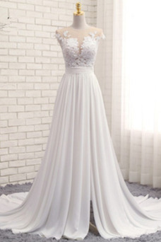 Vestido de novia primavera Apertura Frontal Natural Pura espalda Encaje