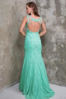 Vestido de fiesta Corte Sirena Sin mangas Cola Barriba Apliques Natural