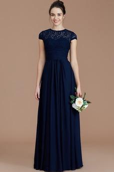 Vestido de dama de honor Corte-A Elegante Hasta el suelo Espalda con ojo de cerradura