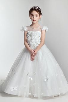 Vestido niña ceremonia Joya Corte-A primavera Cremallera Manga corta Natural