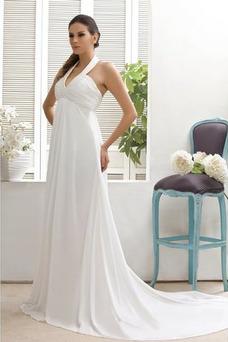 Vestido de novia Imperio Blusa plisada Plisado Playa Cremallera Escote en V