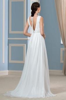 Vestido de novia Playa Cinturón de cuentas Cola Barriba Elegante Volantes Adorno