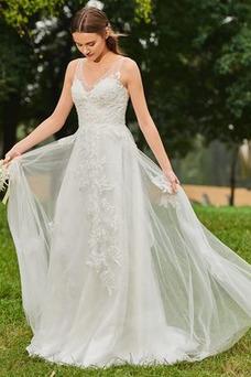 Vestido de novia Falta primavera Hasta el suelo Natural Escote en V