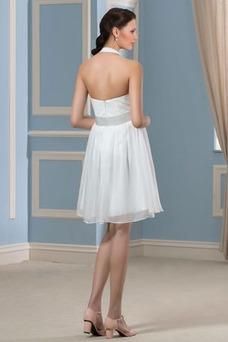 Vestido de novia Embarazadas Blusa plisada Escote halter Plisado Hasta la Rodilla