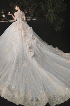 Vestido de novia Camiseta Escote con cuello Alto Encaje Formal Corte-A