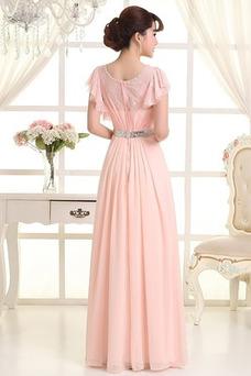 Vestido de dama de honor Manga suelta Corte-A Blusa plisada Escote redondo Otoño
