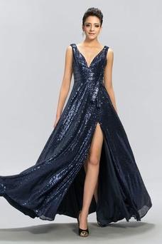 Vestido de noche sexy Otoño Cremallera Hasta el Tobillo Escote en V