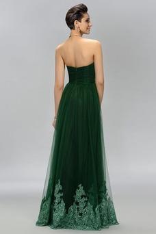 Vestido de fiesta Elegante Cola Barriba Corte-A Encaje Natural Bordado