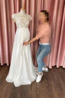 Vestido de novia Imperio Fuera de casa Embarazadas Joya Encaje Hasta el suelo