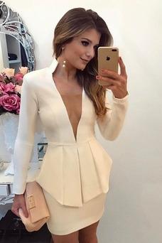 Vestido de cóctel Natural Corte Recto Falta Baja escote en V Escote en V