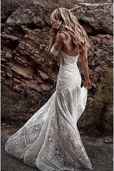 Vestido de novia Playa Triángulo Invertido Natural Verano largo Elegante