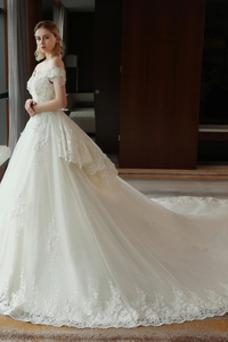 Vestido de novia Satén Escote con Hombros caídos Sala primavera Manga corta