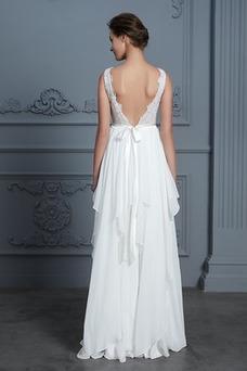 Vestido de novia Moderno Capa de encaje Hasta el suelo Barco Natural
