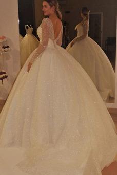 Vestido de novia Triángulo Invertido Mangas Illusion Drapeado Corte-A