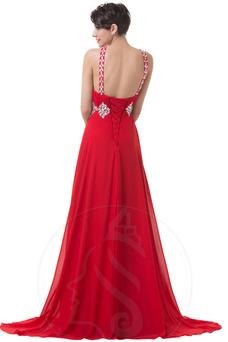Vestido de noche Espalda Descubierta Corte-A Cinturón de cuentas Sin mangas