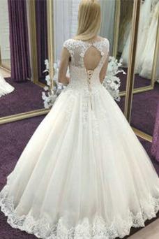 Vestido de novia Elegante Natural Escote redondo Iglesia Apliques Corte-A