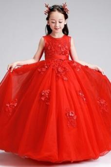 Vestido niña ceremonia Otoño Natural Joya Apliques Arco Acentuado Hasta el Tobillo