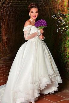 Vestido de novia Fuera de casa Escote con Hombros caídos Mangas Illusion