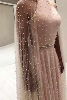Vestido de noche primavera Joya Perlas Falta largo tul