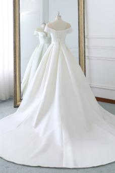 Vestido de novia Hasta el suelo Pera Cordón primavera Natural Drapeado