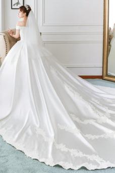 Vestido de novia Corte-A Cordón Manga corta Manga tapada Cola Catedral