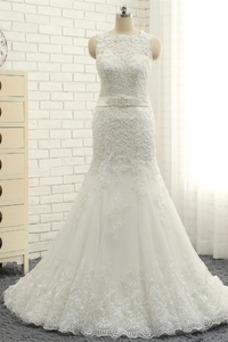 Vestido de novia Abalorio Sin mangas Joya Natural tul Formal