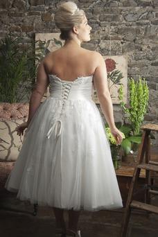 Vestido de novia Playa Cordón Abalorio Glamouroso Sin tirantes Natural