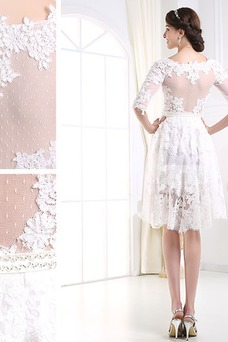 Vestido de novia Encaje Alto cubierto Manga de longitud 3/4 Corto Mangas Illusion