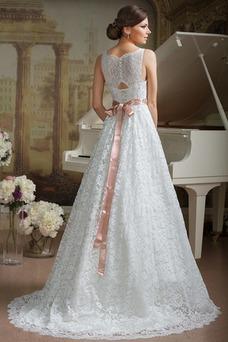 Vestido de novia Barco Corte-A Sin mangas Fajas largo Encaje