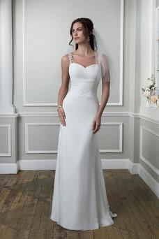 Vestido de novia Playa Pura espalda Escote Corazón Gasa Verano Corte Recto