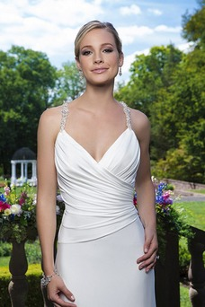 Vestido de novia Natural Gasa Escote de Tirantes Espaguetis Cola Capilla