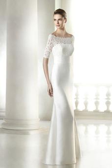 Vestido de novia Encaje Con velo Encaje Natural largo Corte Recto