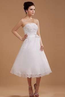 Vestido de novia Encaje Cremallera Corte-A Hasta la Tibia Verano Sin mangas