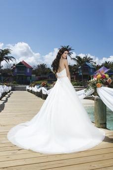 Vestido de novia Cola Capilla primavera Corte-A Fuera de casa Con velo