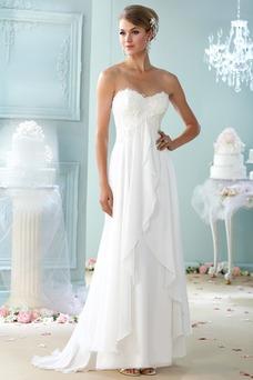 Vestido de novia Playa Cremallera Sin mangas Imperio Cintura largo Escote Corazón