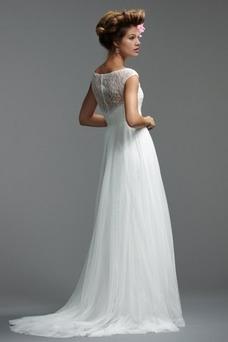 Vestido de novia Alto cubierto largo Playa Barco Manga corta Dobladillos