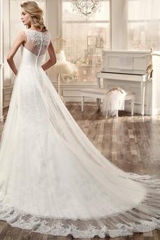 Vestido de novia primavera Imperio Cintura Cola Catedral Barco Alto cubierto