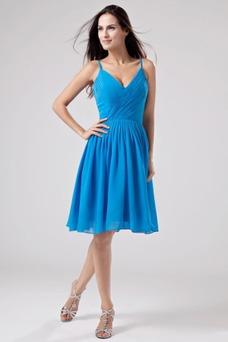 Vestido de dama de honor Azul Sin mangas Escote de Tirantes Espaguetis Cremallera