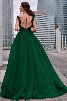 Vestido de fiesta tul Pura espalda Corte-A Natural Formal Corpiño Acentuado con Perla