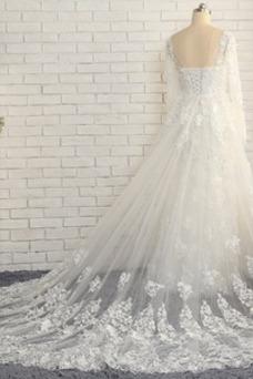Vestido de novia Manga larga Corte-A Otoño Apliques Rosetón Acentuado