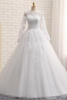 Vestido de novia vendimia Iglesia Manzana tul Apliques Mangas Illusion