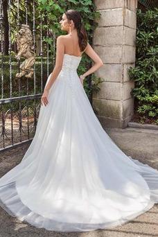 Vestido de novia Sin mangas Corpiño Acentuado con Perla Pera Moderno