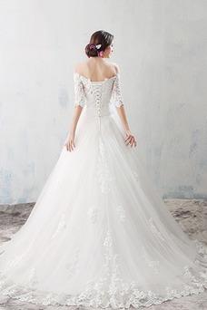 Vestido de novia Apliques Reloj de Arena Cordón Natural Barco Sin mangas