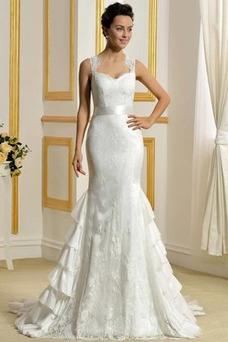 Vestido de novia Corte Sirena Cascada de volantes Iglesia Tiras anchas